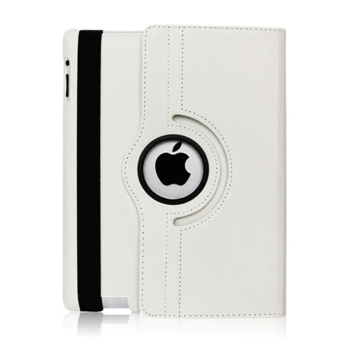Leren Vouwbare Cover voor iPad 4 - Multifunctioneel Hoesje Case Wit