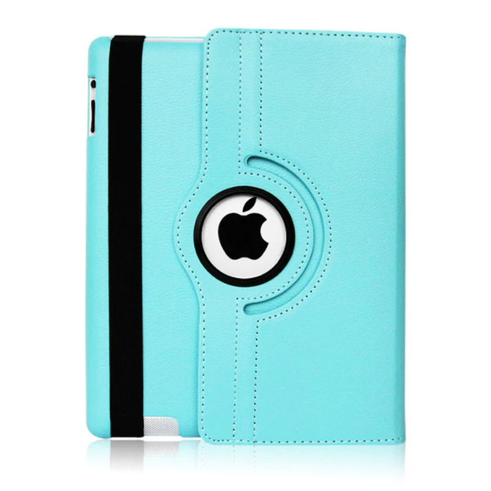 """Leren Vouwbare Cover voor iPad 2018 (9.7"""") - Multifunctioneel Hoesje Case Lichtblauw"""