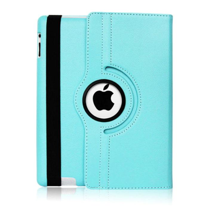 """Leren Vouwbare Cover voor iPad 2017 (9.7"""") - Multifunctioneel Hoesje Case Lichtblauw"""