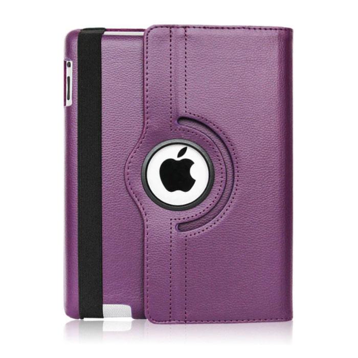"""Leren Vouwbare Cover voor iPad 2020 (10.2"""") - Multifunctioneel Hoesje Case Paars"""