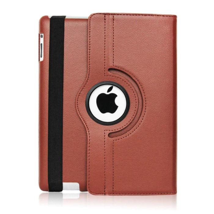 """Leren Vouwbare Cover voor iPad 2020 (10.2"""") - Multifunctioneel Hoesje Case Bruin"""