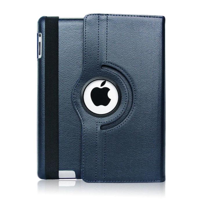 """Leren Vouwbare Cover voor iPad 2018 (9.7"""") - Multifunctioneel Hoesje Case Blauw"""