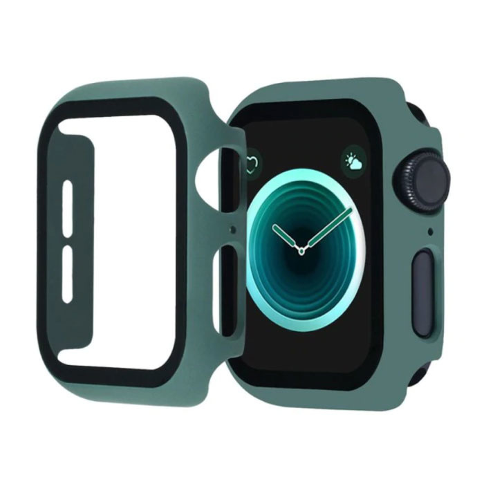 Full Cover voor iWatch Series 44mm - Hoesje en Screen Protector - Tempered Glass Hard Case TPU