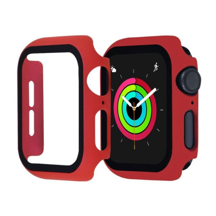 Full Cover voor iWatch Series 44mm - Hoesje en Screen Protector - Tempered Glass Hard Case TPU Rood