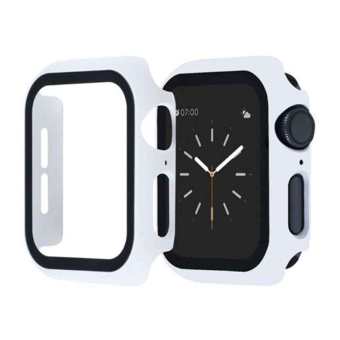 Full Cover voor iWatch Series 42mm - Hoesje en Screen Protector - Tempered Glass Hard Case TPU Wit