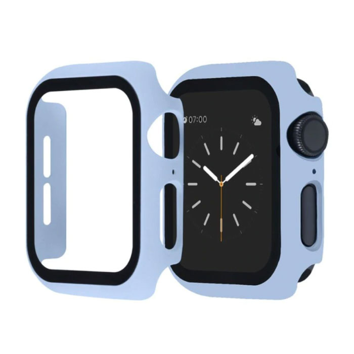 Full Cover voor iWatch Series 38mm - Hoesje en Screen Protector - Tempered Glass Hard Case TPU Lichtblauw