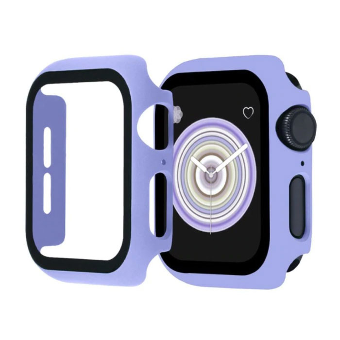 Full Cover voor iWatch Series 42mm - Hoesje en Screen Protector - Tempered Glass Hard Case TPU Paars