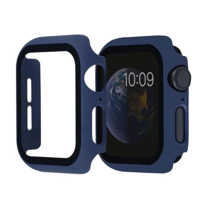 Volle Abdeckung für iWatch Serie 38mm - Gehäuse und Displayschutzfolie - Hartglasgehäuse aus gehärtetem Glas TPU Blau