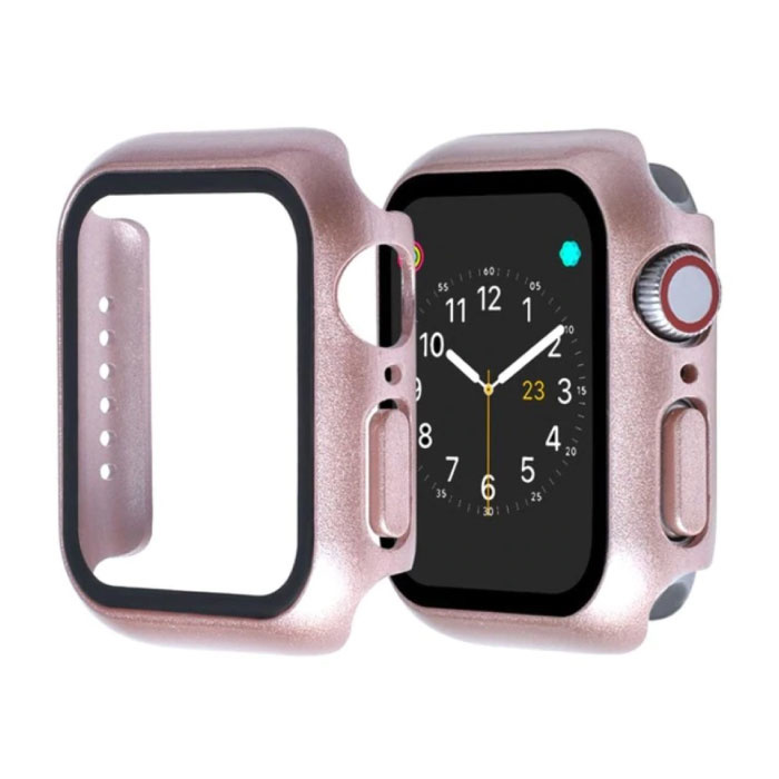 Full Cover voor iWatch Series 44mm - Hoesje en Screen Protector - Tempered Glass Hard Case TPU Rose Gold