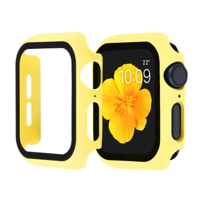 Full Cover voor iWatch Series 38mm - Hoesje en Screen Protector - Tempered Glass Hard Case TPU Geel