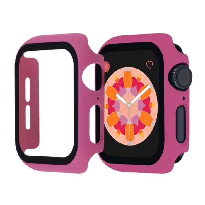 Full Cover voor iWatch Series 42mm - Hoesje en Screen Protector - Tempered Glass Hard Case TPU Donkerroze