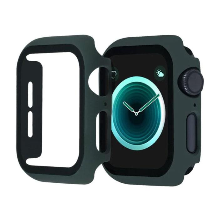Full Cover voor iWatch Series 40mm - Hoesje en Screen Protector - Tempered Glass Hard Case TPU Donkergroen