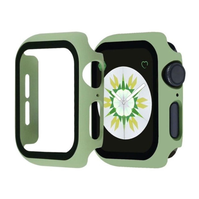 Full Cover voor iWatch Series 44mm - Hoesje en Screen Protector - Tempered Glass Hard Case TPU Lichtgroen