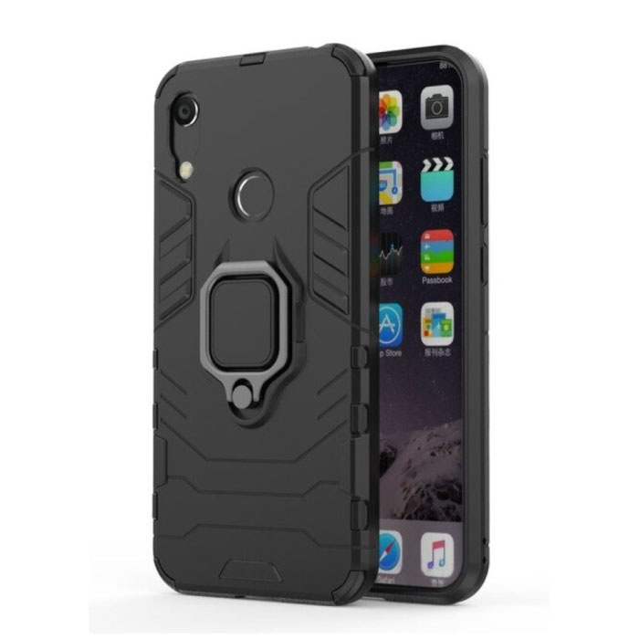 Huawei Honor 8A Hoesje  - Magnetisch Shockproof Case Cover Cas TPU Zwart + Kickstand