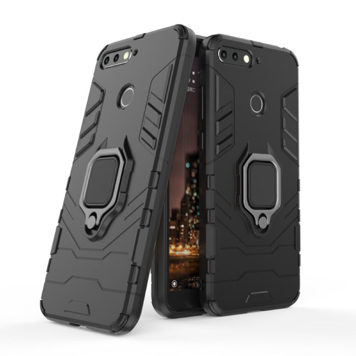 Huawei Honor 10 Case - Magnetic Shockproof Case Cover Cas TPU Black + Kickstand