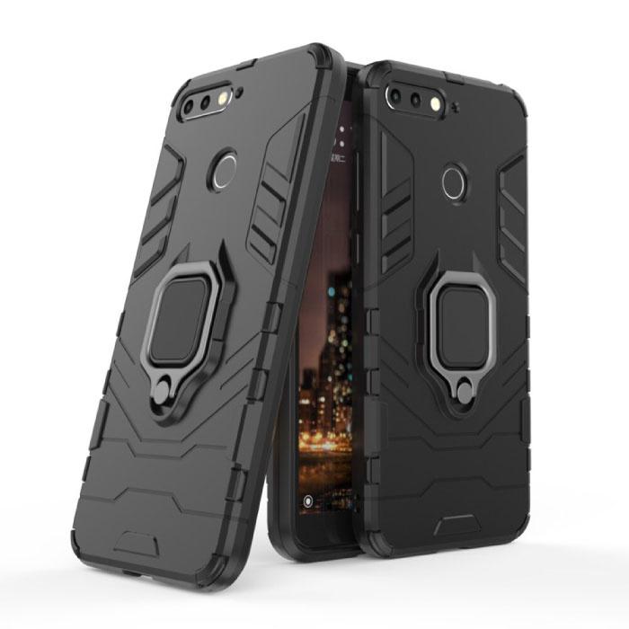 Huawei Honor 10 Hoesje  - Magnetisch Shockproof Case Cover Cas TPU Zwart + Kickstand