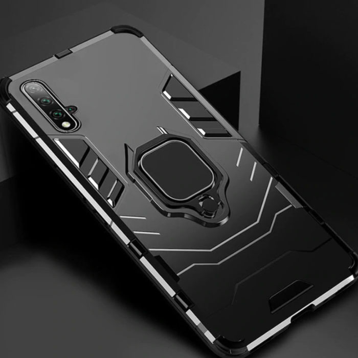 Huawei Honor 20 Pro Case - Magnetic Shockproof Case Cover Cas TPU Black + Kickstand