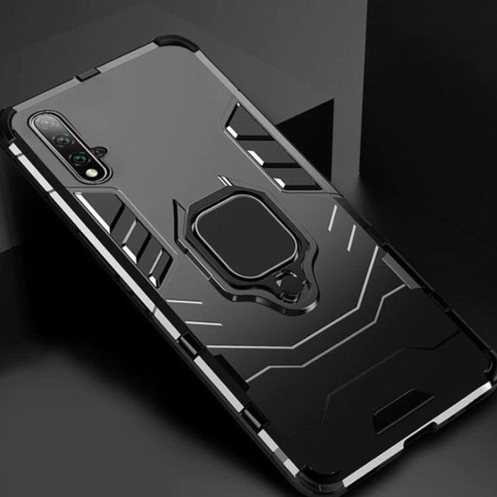 Huawei Honor 20 Pro Hülle - Magnetische stoßfeste Hülle Cas TPU Schwarz + Ständer