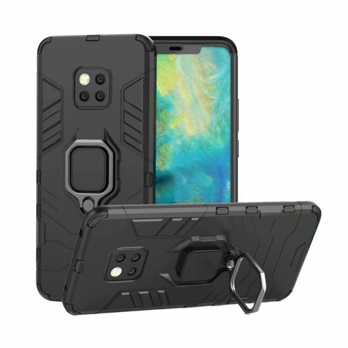 Huawei Mate 20 Pro Hoesje  - Magnetisch Shockproof Case Cover Cas TPU Zwart + Kickstand
