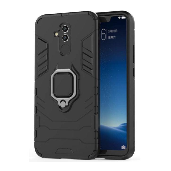 Huawei Mate 20 Lite Hülle - Magnetische stoßfeste Hülle Cas TPU Schwarz + Ständer