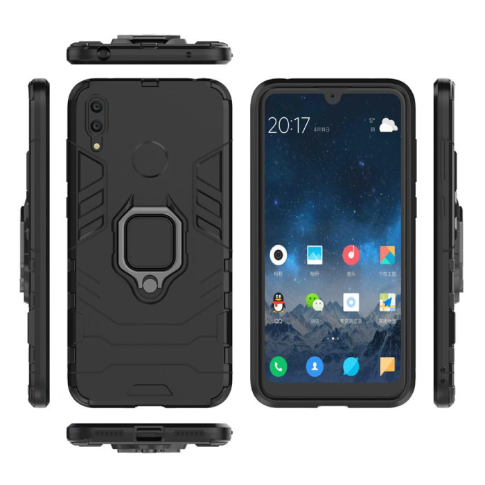 Huawei P20 Lite Hoesje  - Magnetisch Shockproof Case Cover Cas TPU Zwart + Kickstand