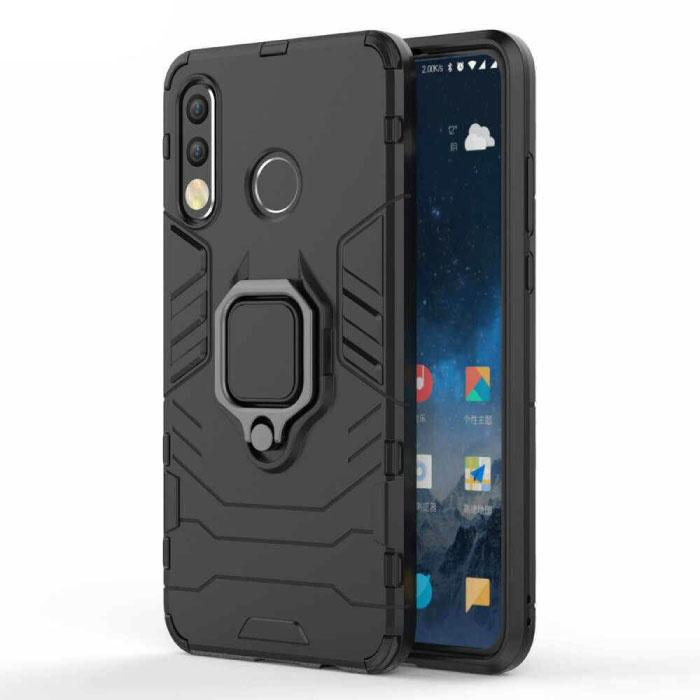 Huawei P30 Lite Hoesje  - Magnetisch Shockproof Case Cover Cas TPU Zwart + Kickstand