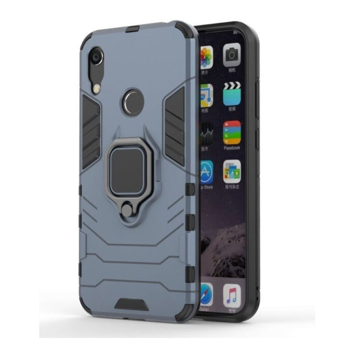 Huawei Y6 Pro 2019 Hoesje  - Magnetisch Shockproof Case Cover Cas TPU Blauw + Kickstand