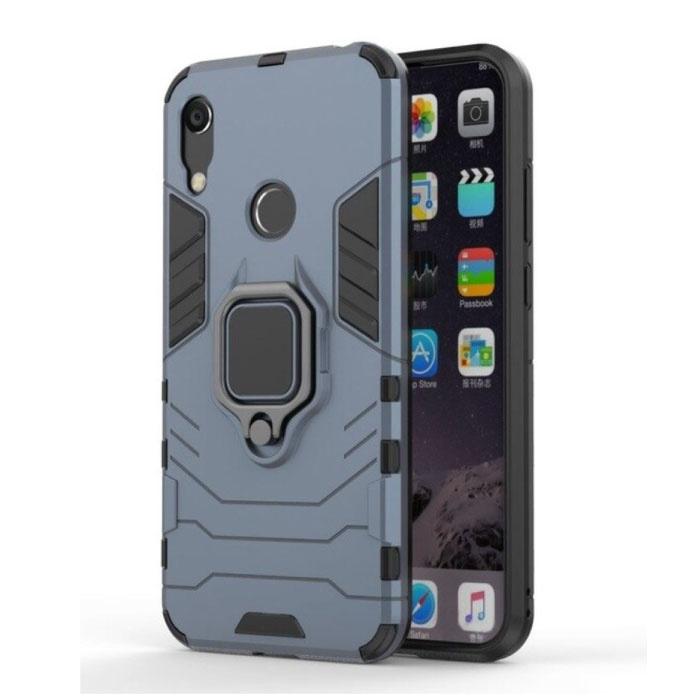 Huawei Y7 2019 Hoesje  - Magnetisch Shockproof Case Cover Cas TPU Blauw + Kickstand