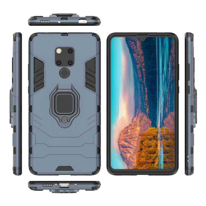 Huawei Mate 20 Pro Hoesje  - Magnetisch Shockproof Case Cover Cas TPU Blauw + Kickstand