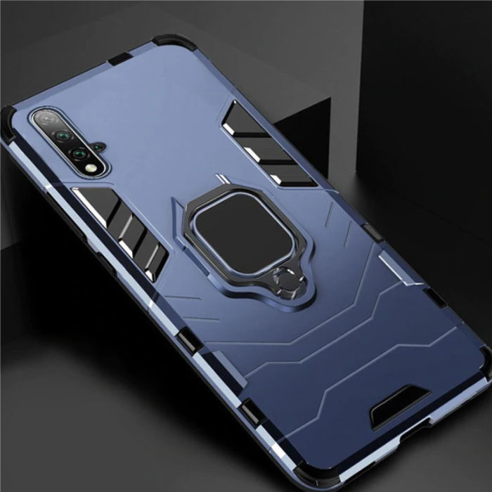 Huawei Honor 8A Hoesje  - Magnetisch Shockproof Case Cover Cas TPU Blauw + Kickstand