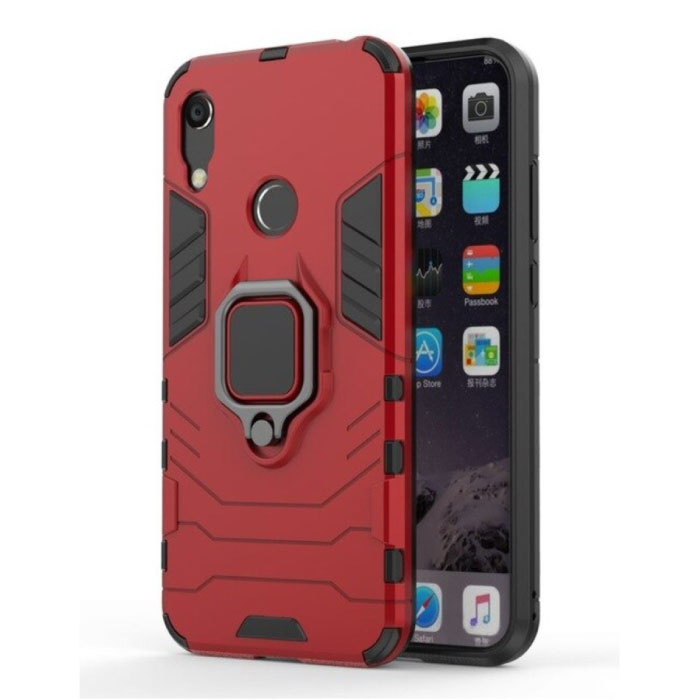 Huawei Honor 10 Lite Hoesje  - Magnetisch Shockproof Case Cover Cas TPU Rood + Kickstand