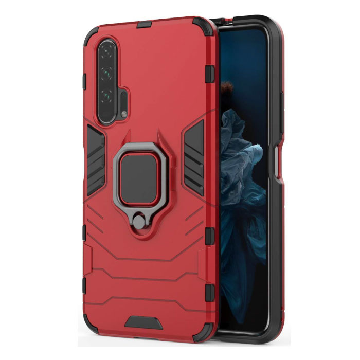 Huawei Mate 20 Pro Hoesje  - Magnetisch Shockproof Case Cover Cas TPU Rood + Kickstand