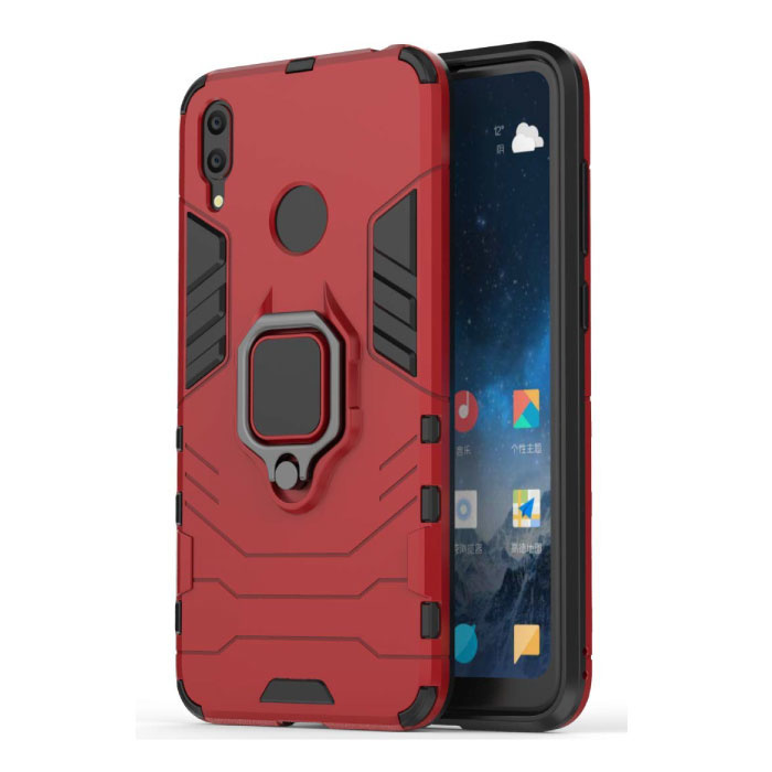 Huawei Y7 2019 Hoesje  - Magnetisch Shockproof Case Cover Cas TPU Rood + Kickstand