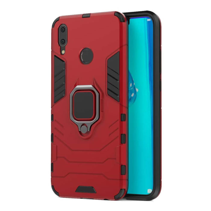 Huawei P20 Hoesje  - Magnetisch Shockproof Case Cover Cas TPU Rood + Kickstand