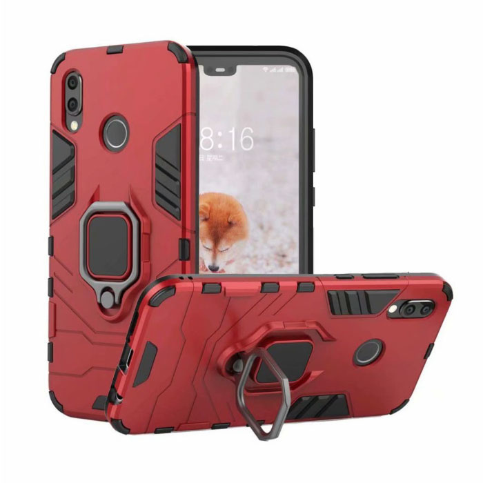 Huawei P30 Lite Hoesje  - Magnetisch Shockproof Case Cover Cas TPU Rood + Kickstand