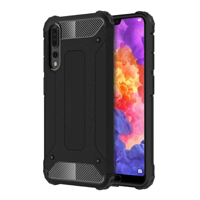 Huawei P20 Lite Armor Case - Silicone TPU Hoesje Cover Cas Zwart