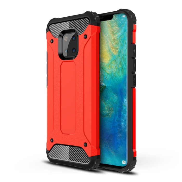 Huawei P20 Lite Armor Case - Silicone TPU Hoesje Cover Cas Rood