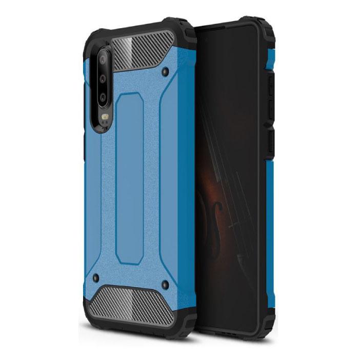 Huawei P40 Lite Armor Case - Silicone TPU Hoesje Cover Cas Blauw