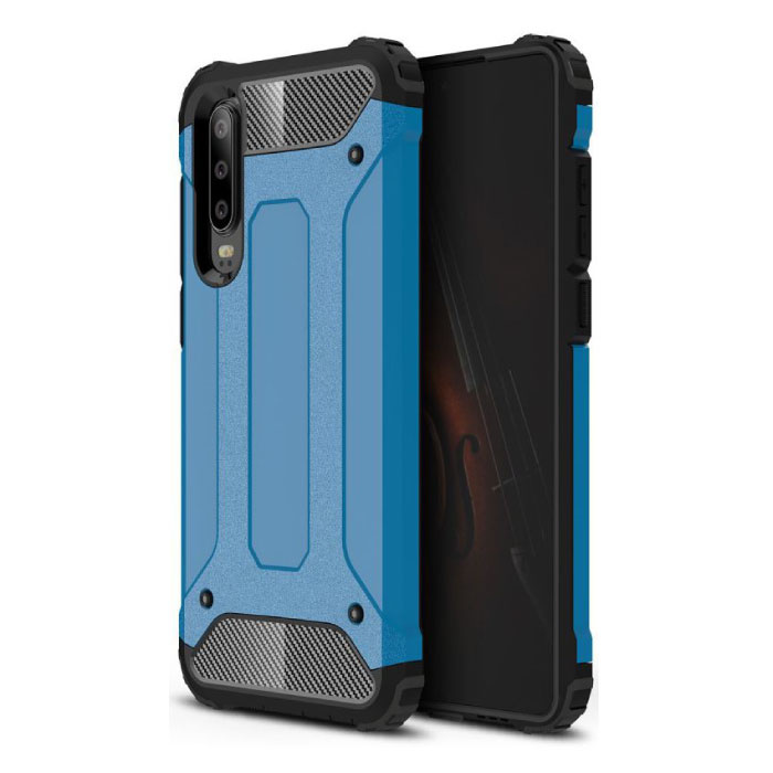 Huawei P30 Pro Armor Case - Silicone TPU Hoesje Cover Cas Blauw