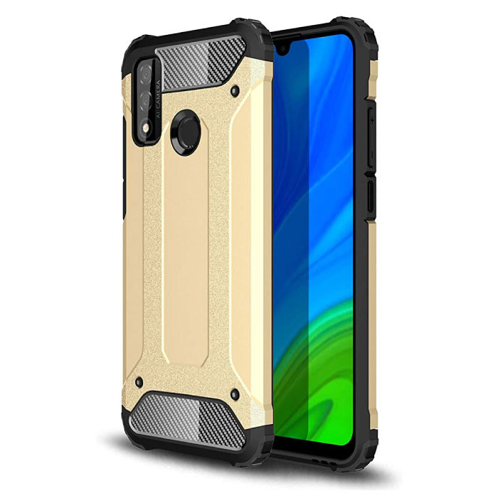 Huawei P40 Lite Armor Case - Silicone TPU Hoesje Cover Cas Goud