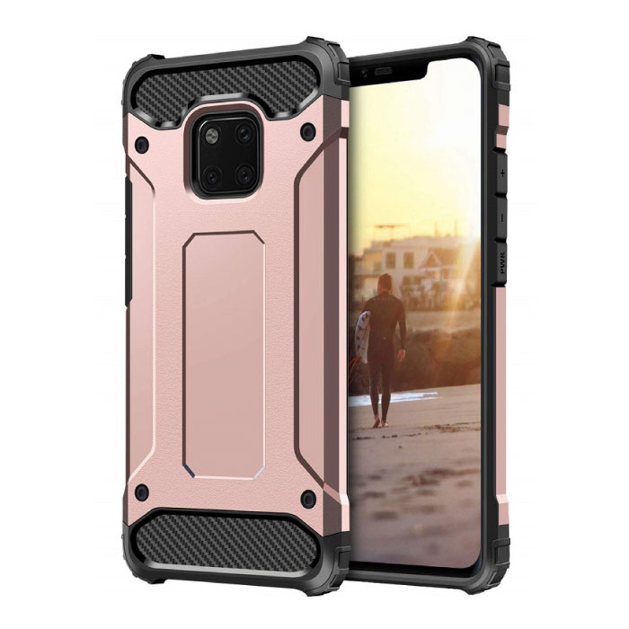 Huawei P20 Lite Armor Case - Silicone TPU Hoesje Cover Cas Rose Gold