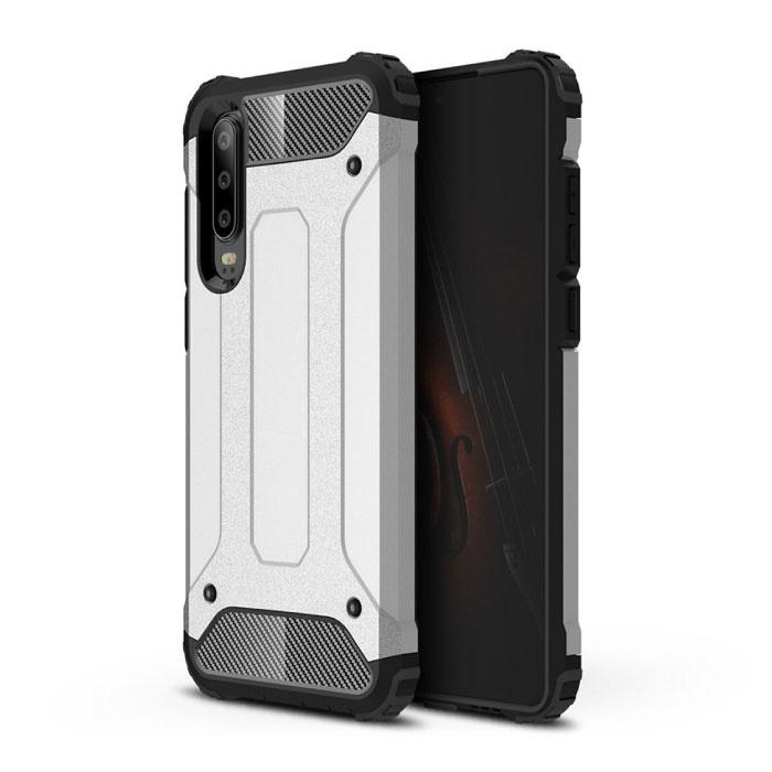 Huawei P40 Lite Armor Case - Silicone TPU Hoesje Cover Cas Zilver