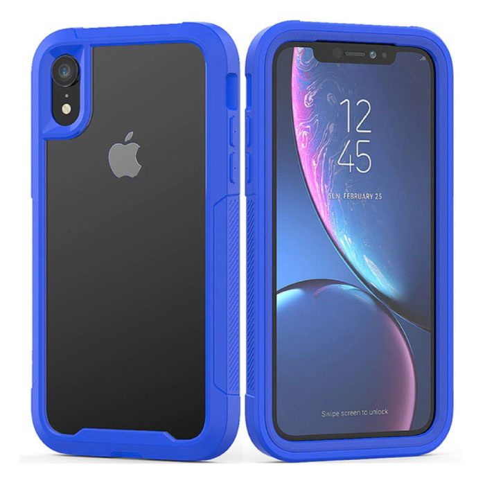 Bumper Case with Frame for iPhone XR - Anti-Shock Case Cover TPU Blue