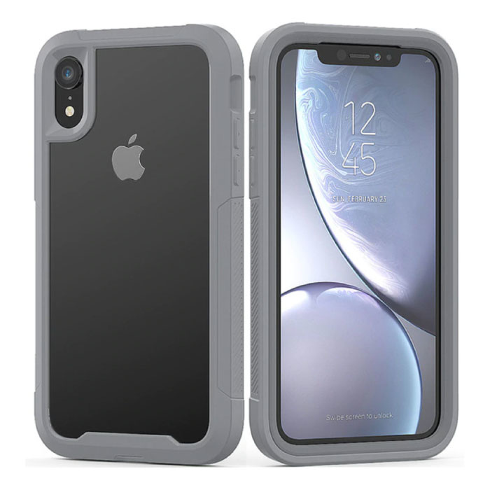 Bumper Case with Frame pour iPhone X - Housse Anti-Shock TPU Gris