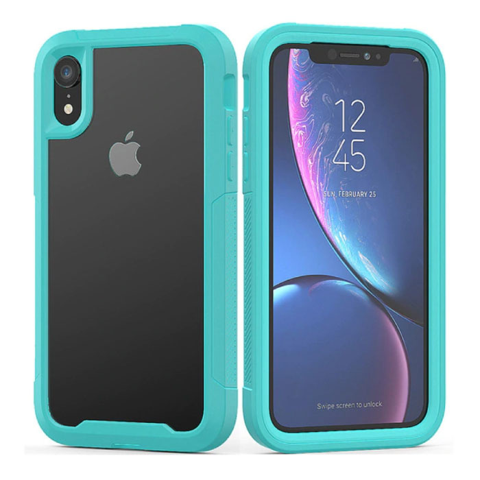 Bumper Hoesje met Frame voor iPhone XR - Anti-Shock Case Cover TPU Turquoise
