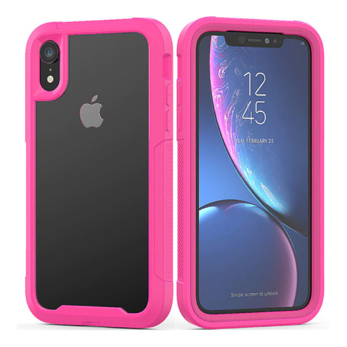 Bumper Hoesje met Frame voor iPhone XR - Anti-Shock Case Cover TPU Roze