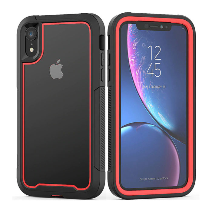 Bumper Hoesje met Frame voor iPhone 7 Plus - Anti-Shock Case Cover TPU Rood