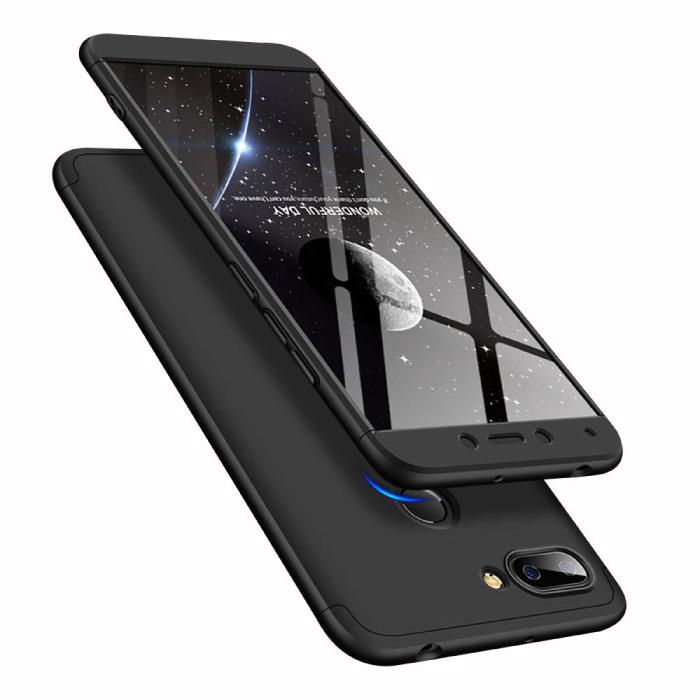 Xiaomi Redmi 5 Full Cover - 360° Body Hoesje Case + Screenprotector Tempered Glass Zwart