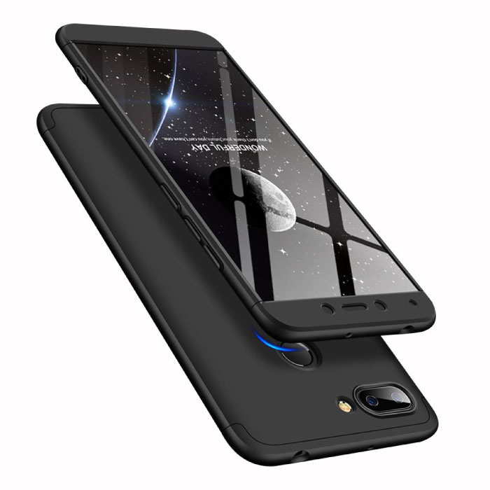 Xiaomi Redmi 6A Full Cover - 360° Body Hoesje Case + Screenprotector Tempered Glass Zwart