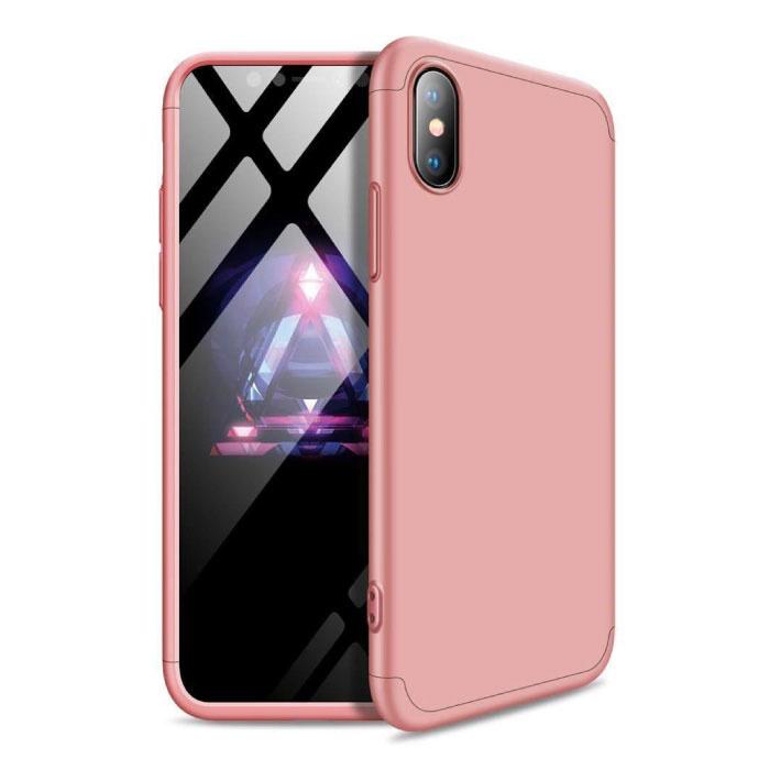 Xiaomi Redmi 9A Full Cover - 360 ° Body Case Case + Screen Protector Tempered Glass Pink